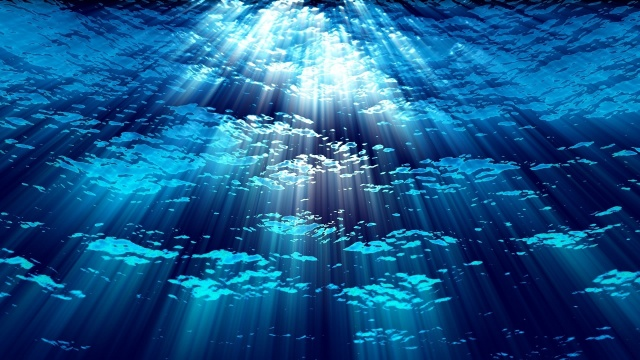 water, depth, rays of light, blue, background