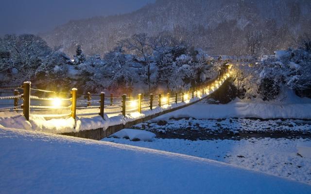 природа, горы, зима, снег, горная река, красиво, мост, вечер