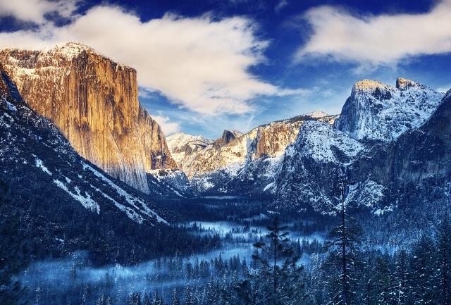 йосемитский национальный парк, лес, горы, США, зима, водопад, красиво, утро, рассвет