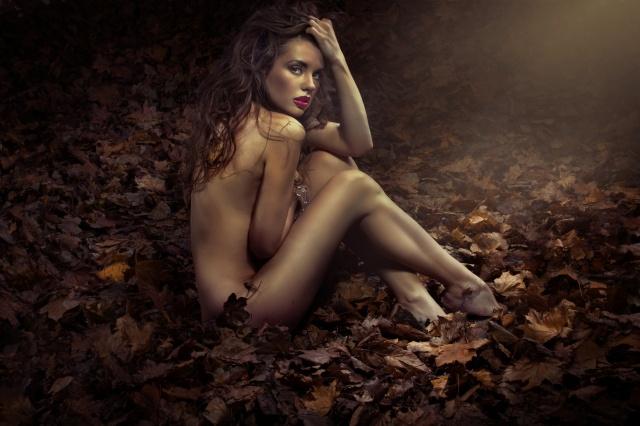 holka, шатенка, Pózování, podzim, foto, tvůrčí