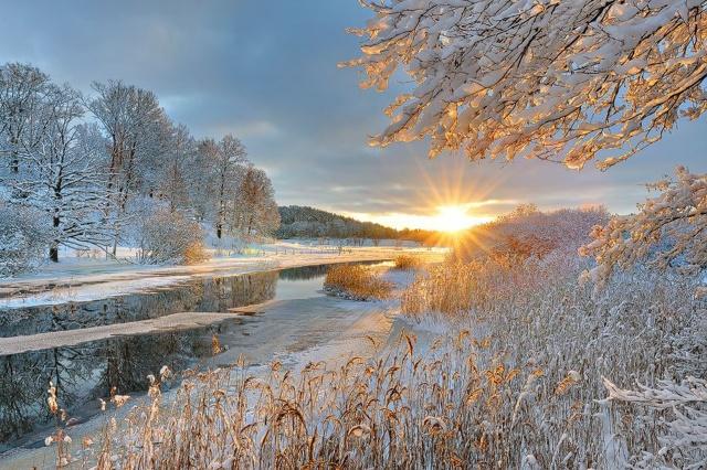 зима, река, восход, солнце, снег