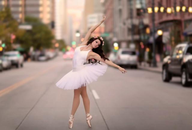 girl, brown hair, ballerina, posing, macro, photo, the city, road, the situation