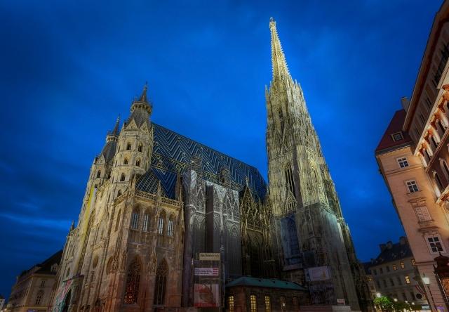 Австрия, Вена, собор, красота, ночь, небо