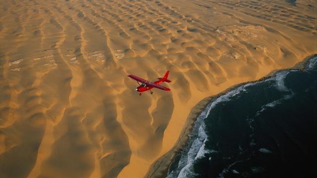 Самолет, самолет, десерт, Воздушная, пляж, океан
