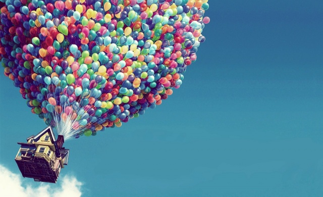 the house, balloons, flight