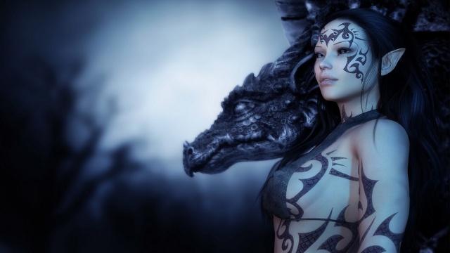 holka, dragon, pohled, obrázek, známky, tetování