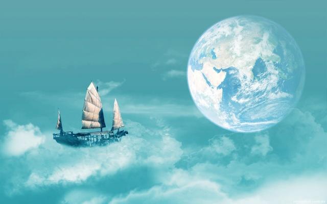 mraky, vzduchový loď, planeta, obyčejný let