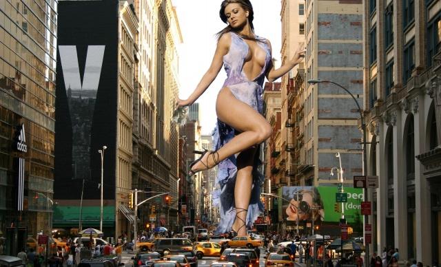фото, креатив, місто, Кармен Електра, дівчина, секси, ніжки, груди