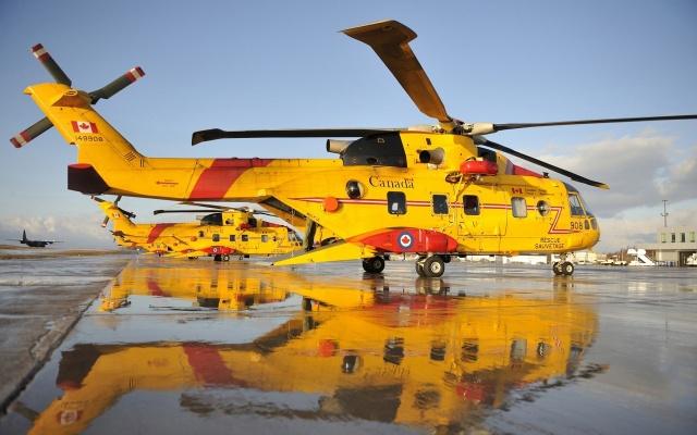 вертолет, желтый, воды, rescue, летать
