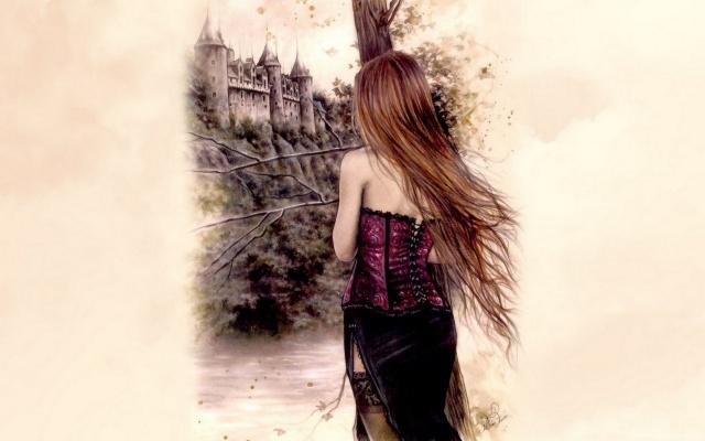 девушка, дерево, ров, замок
