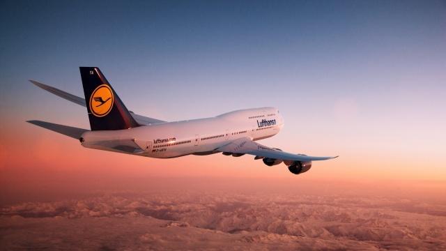 plane, lufthansa, boeing 747, 8i, sky, clouds