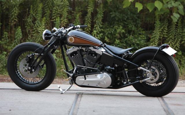 Чорно-коричневий Custom, мотоцикл, байк