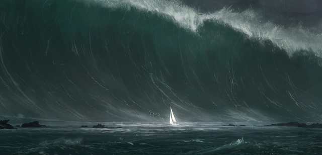 лодка, волна, Цунами, картина, стихия, волна, камни, скалы, лодка