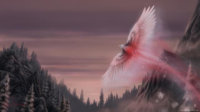 лес, феникс, легендарная птица