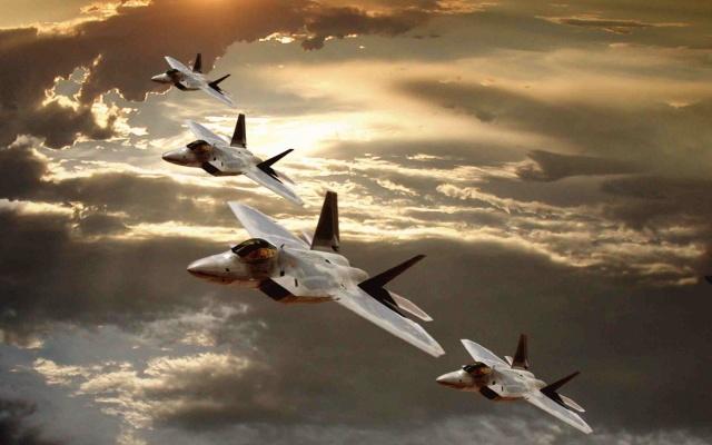 Ф-22, Раптор, война, зброя, летать, самолет, облака, небо