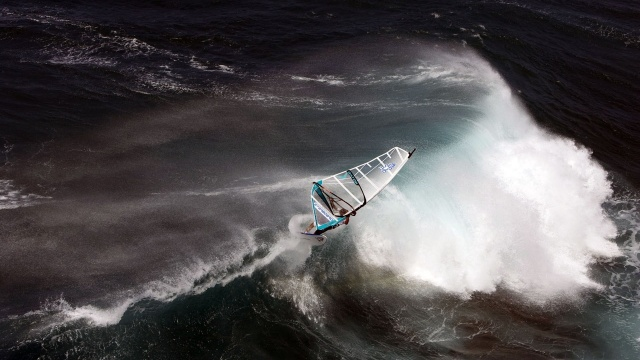 виндсерфинг, океан, воды, ветер