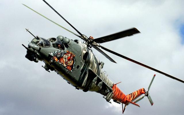 vrtulník, mI-24, warlfly, zbraň, mraky, sky