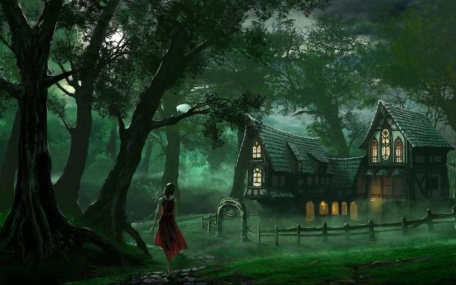 žena, les, dům, staré, strom