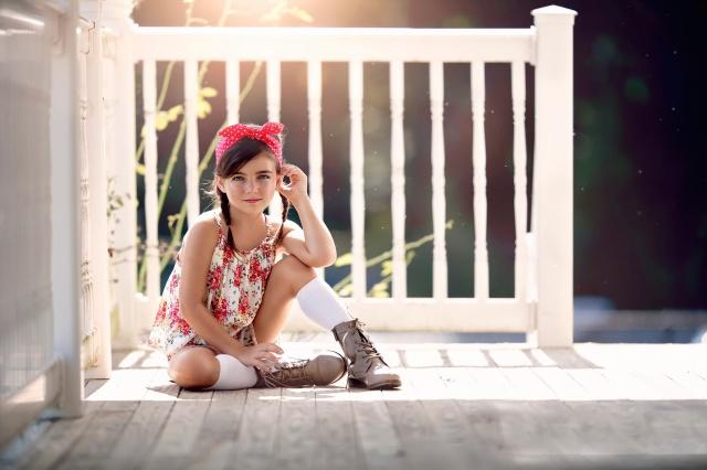 Летний Свет, стиле, бандана, сапоги, мода, цветочные, девочка, крыльцо