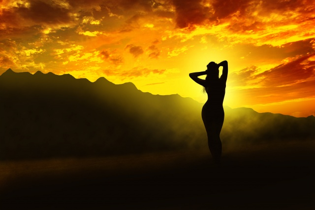 fantasy, příroda, photoshop, hory, holka, nebe, západ slunce