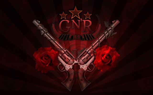 Guns N Roses, logo, trunks, rose, rock