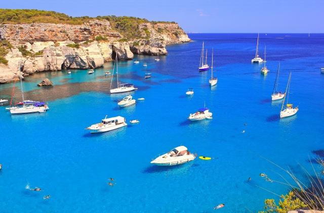 туристи, бухта, море, скелі, човни, катери, красиво, фото, позитив