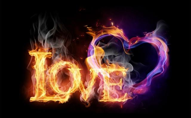 Love, fire, heart, the dark background