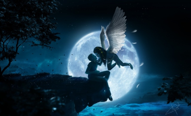 night, cliff, guy, girl, angel, wings, the moon, kiss, height