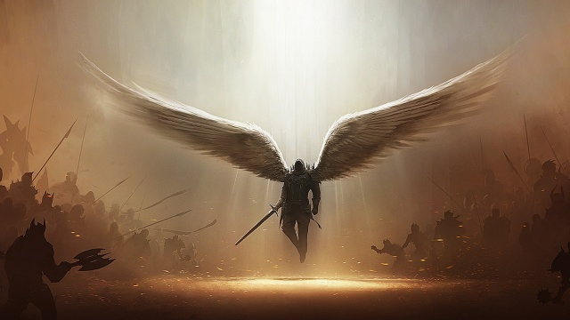фентезі, лицар, ангел, Воїн