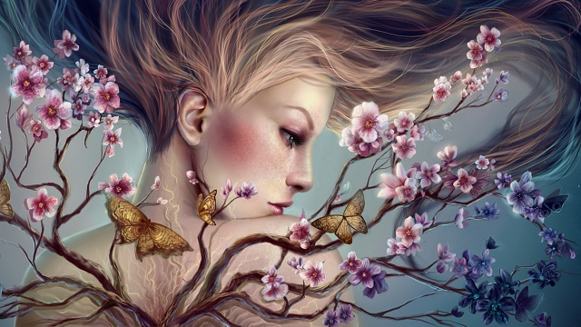 девушка, бабочки, ветка цветущего дерева