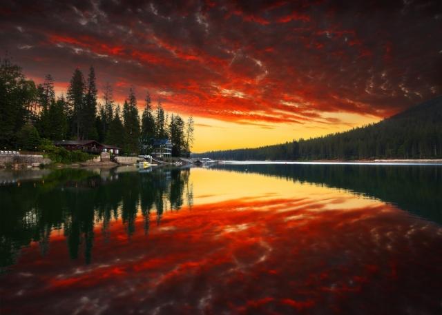 příroda, stromy, les, západ slunce, park, hory, nebe, mraky, řeka