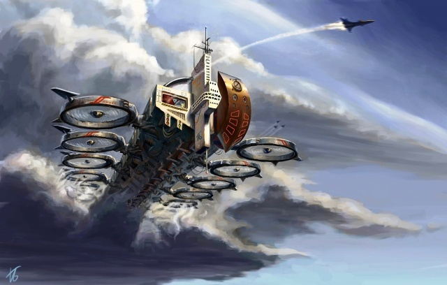 корабль-транспорт, самолеты в небе, облака