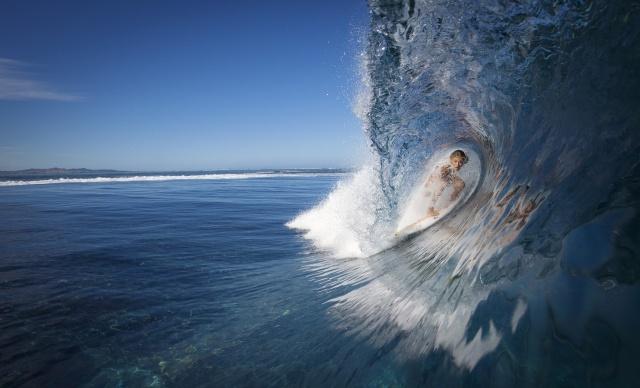 девушка, серфинг, океан, природа, волна, красиво, экстрим