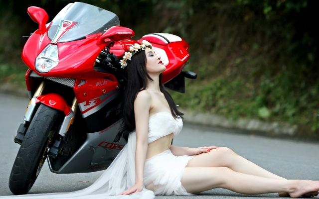 girl, motorcycle, street