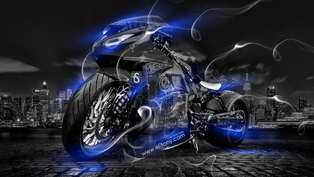Tony Kokhan, Moto, Smoke, Crystal, city, bike, blue, Neon, el Tony Cars