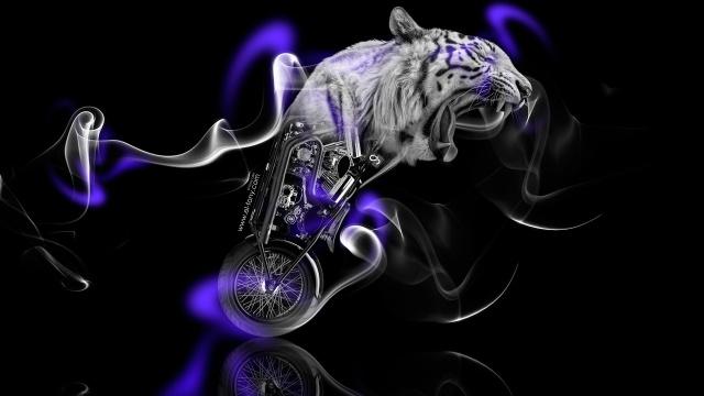 Tony Kokhan, Moto, Fantasy, Tiger, kolo, Kouř, Fialová, Neon, černá