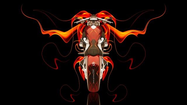 Tony Kokhan, Moto, kolo, oheň, Abstraktní, Oranžová, černá, Chopper, el Tony Cars