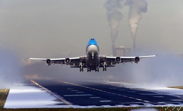 Боинг 747, взлёт, зима, скорость