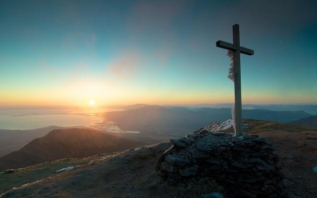 ráno, hory, kříž, krajina