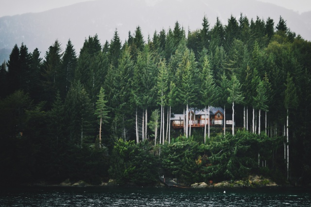 лес, горы, дом, залив, озеро, красиво, природа, пирс