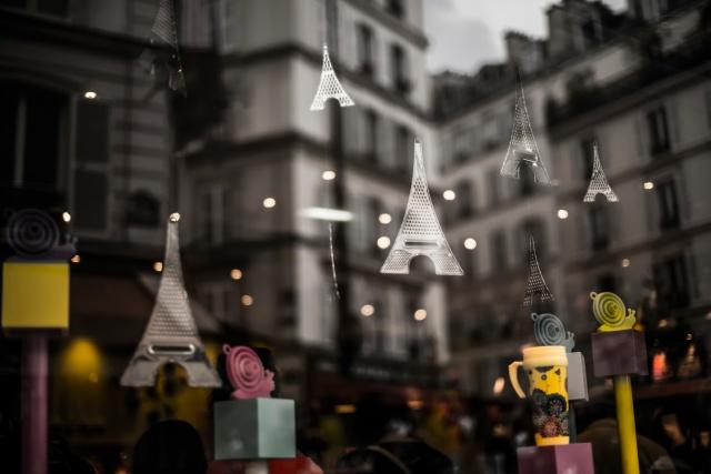 Париж, отражение, витрина, башня