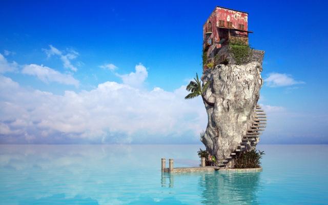 океан, скала, дом
