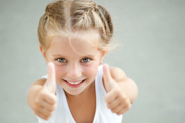 дівчинка, діти, жест, клас, посмішка, настрій