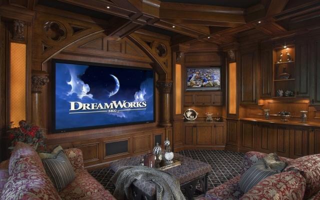 interior, home theater, sofa, furniture, tree