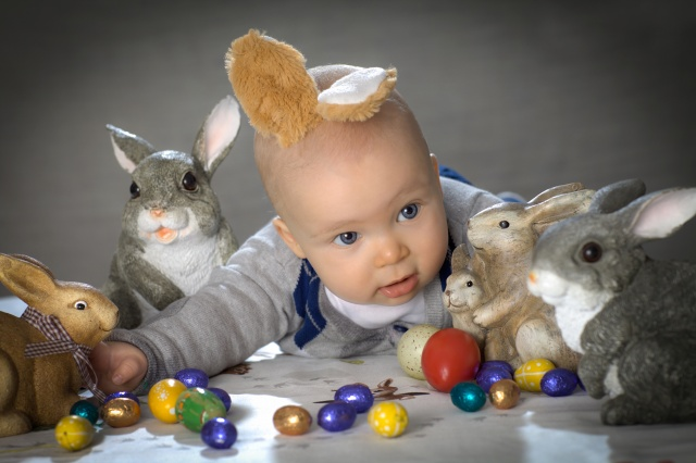 Happy Easter, child, Easter, Easter eggs, hares, rabbits, ears