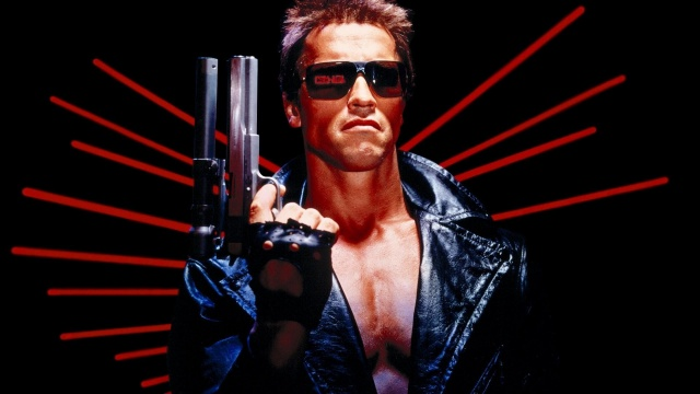 arnold щварценеггер, muž, herec, sportovec, terminator, film, brýle, zbraň, cyborg