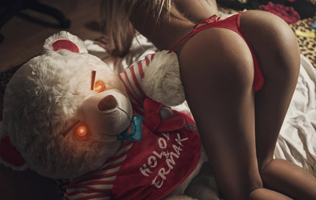 toy, bear, girl, blonde, sexy, photo, theme, ass, Thong