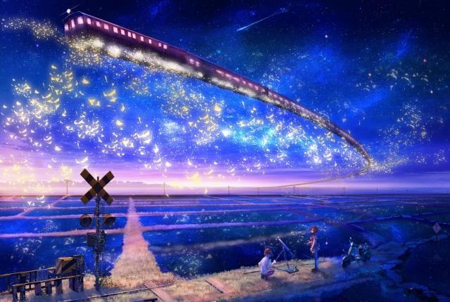 inz, landscape, Fantasy, train, metro, in the sky, field, girl, boy