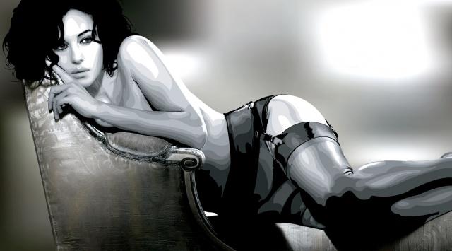 Моника Беллуччи, модель, актриса, лицо, волосы, тело, белье, чулки