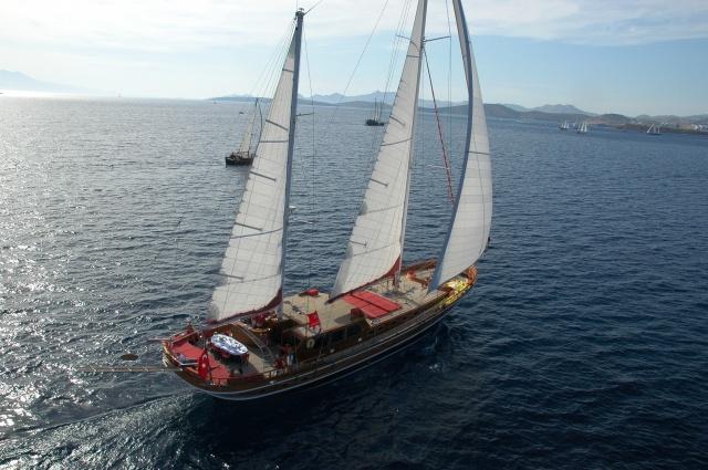 moře, jachta, vítr, plachty